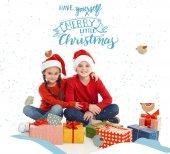 Fotografia bambini con i regali di Natale
