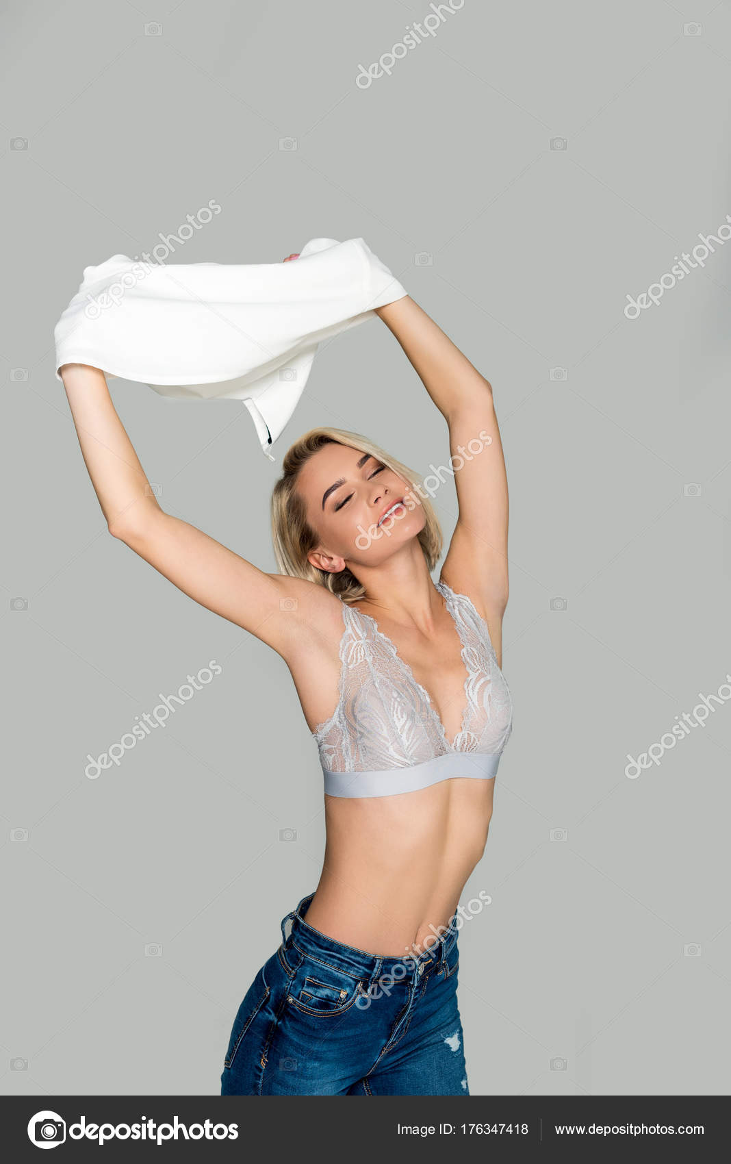 Girl take off shirt and bra