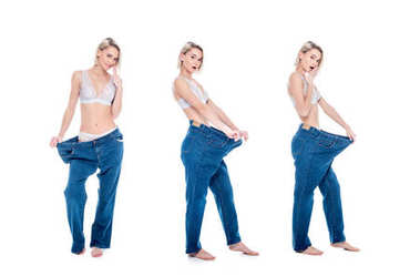 Collage with shocked slim girl in old jeans old jeans after losing weight, isolated on white stock vector