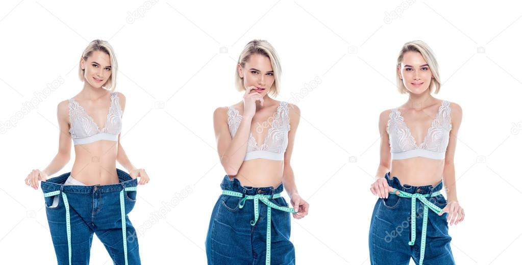 collage with girl in old jeans measuring her slim waist, isolated on white