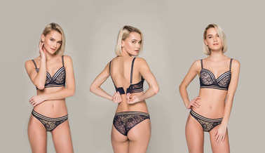 collage with beautiful sexy girl posing in black lingerie, isolated on grey
