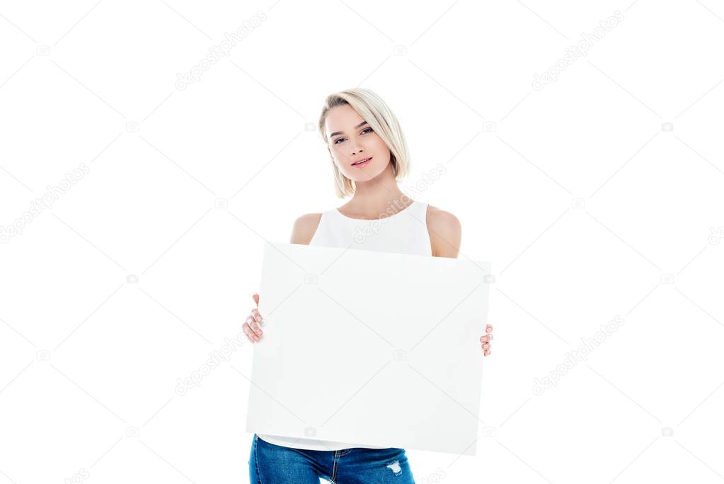 attractive blonde girl with empty board, isolated on white