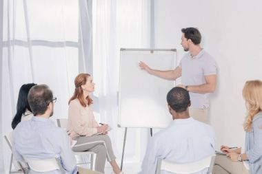 psychotherapist pointing at blank whiteboard and multiethnic group sitting on chairs during therapy