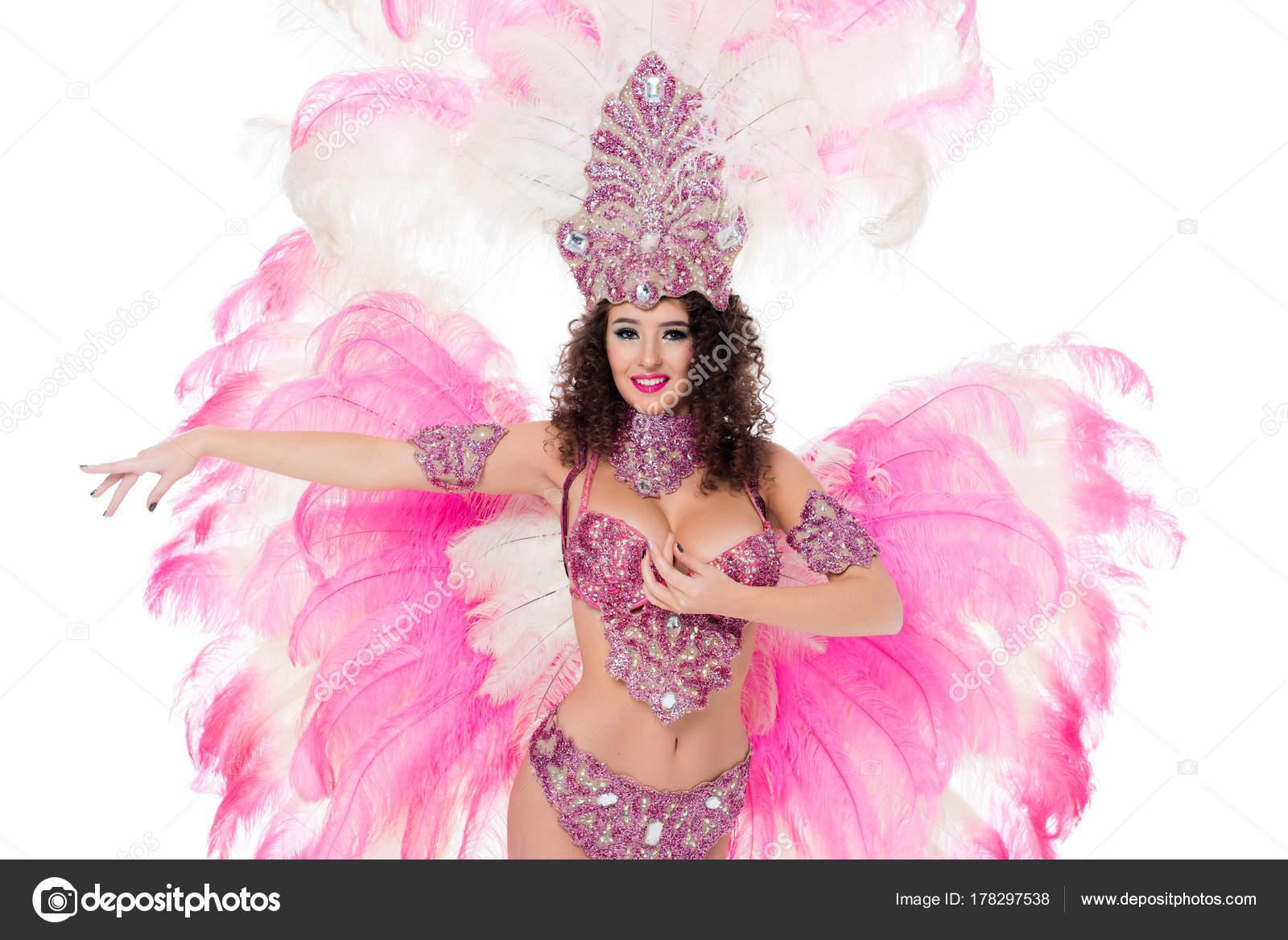 Mujer Atractiva Bailando Traje Tradicional Carnaval Con Plumas Rosa ...