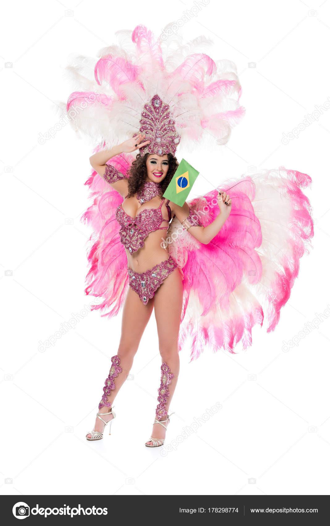 6d62344671e8 Imágenes: trajes brasileños | Sonriente Mujer Traje Carnaval ...