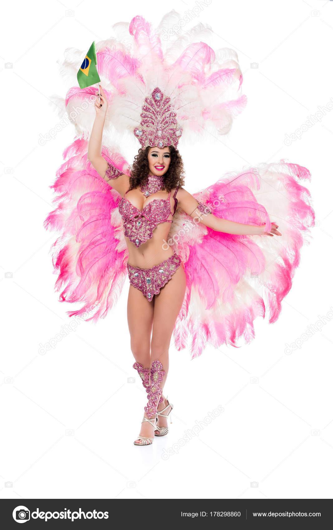 9bf8984102dc Sonriente Mujer Traje Carnaval Celebración Brasileña Fllag Mano ...