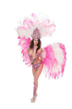 Woman posing in carnival costume with pink feathers blowing kiss, isolated on white stock vector