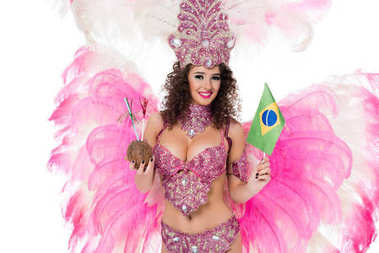 woman in carnival costume holding coconut with straws and brazilian flag, isolated on white