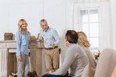 Fotografie Senior men and women having a friendly conversation in light cozy room