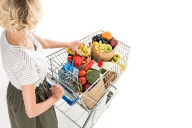 Cropped shot of young woman pushing shopping trolley with grocery bags and plastic bottle of water isolated on white stock vector