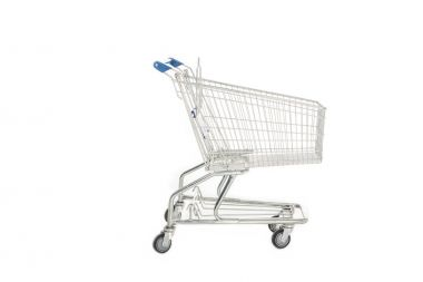 side view of empty shopping trolley isolated on white