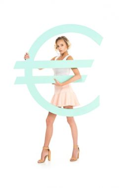 Beautiful young woman with big euro sign looking at camera isolated on white stock vector