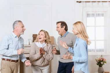 Senior men and women having friendly conversation and laughing in living room