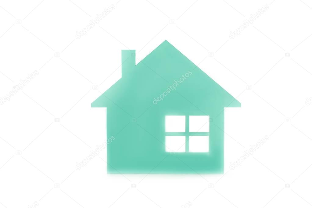 close up view of house model isolated on white