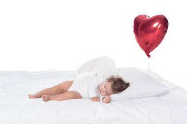 Little cherub with wings sleeping on bed with heart balloon, isolated on white stock vector
