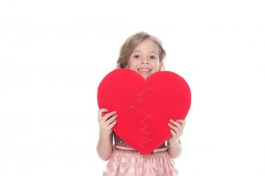 Beautiful kid holding heart sign, isolated on white stock vector