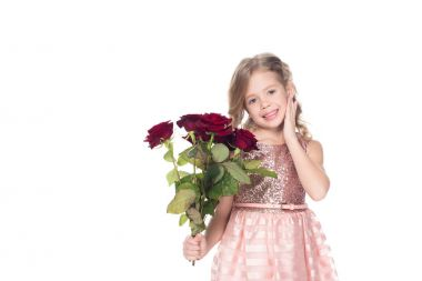 Adorable kid in dress holding bouquet of red roses, isolated on white stock vector