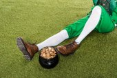 cropped view of leprechaun with pot of gold sitting on green grass