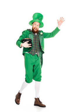 Leprechaun waving and holding pot of gold, isolated on white stock vector