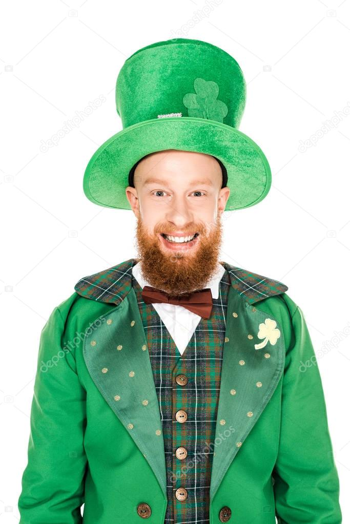 cheerful leprechaun in green costume and hat, isolated on white