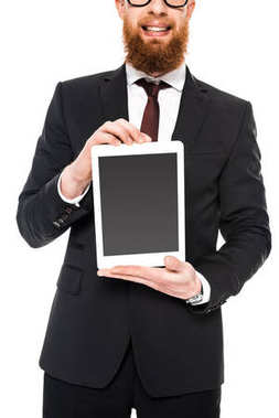 Cropped shot of bearded businessman holding digital tablet with blank screen isolated on white stock vector