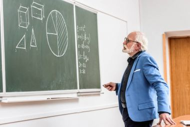 grey hair professor holding piece of chalk and looking at blackboard