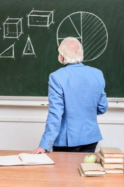 rear view of grey hair professor looking at blackboard