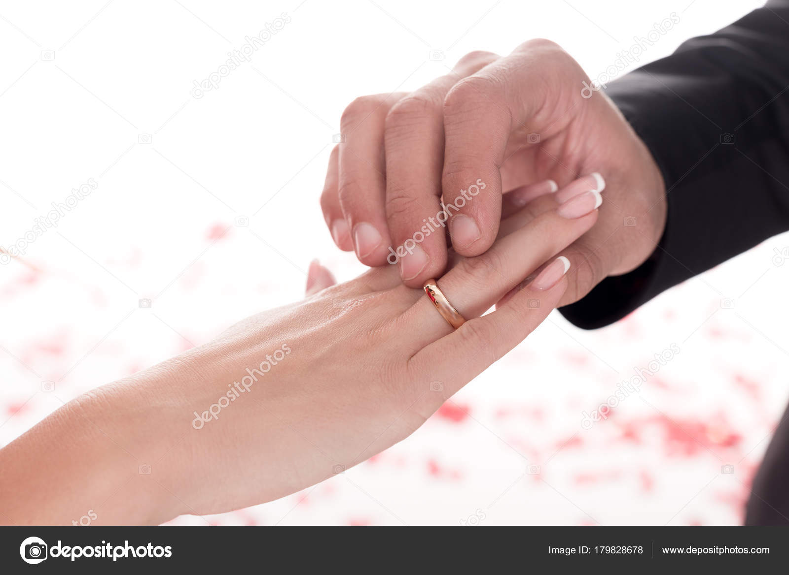 Cropped Image Boyfriend Wearing Ring Girlfriends Finger Isolated ...