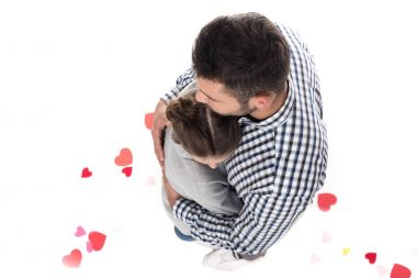 overhead view of couple hugging isolated on white, valentines day concept