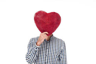 Man covering face with heart of threads isolated on white, valentines day concept stock vector