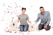 Fotografie Paar sitzt mit Hunden unter fallendem Konfetti isoliert auf weißem Valentinstag-Konzept