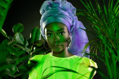 Beautiful african american woman in traditional wire head wrap under green light looking at camera stock vector