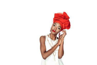 Stylish african american woman in wire head wrap isolated on white stock vector