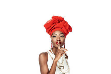Stylish african american woman showing silence gesture isolated on white stock vector