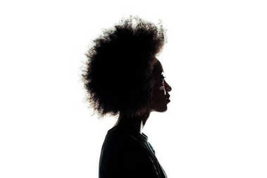 silhouette of african american woman with afro hairstyle isolated on white
