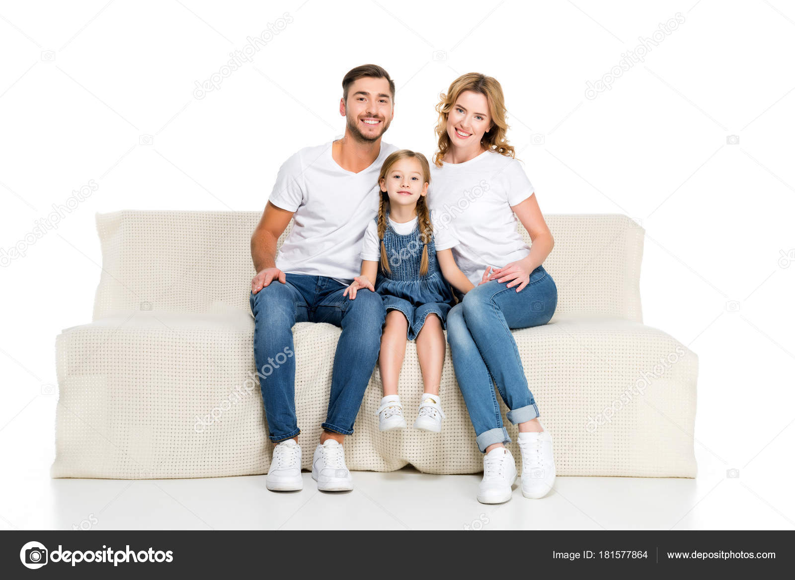 Happy European Family Sitting Sofa Isolated White U2014 Stock Photo