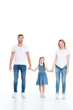happy family holding hands together, isolated on white