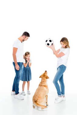 happy family and golden retriever dog playing with soccer ball, isolated on white