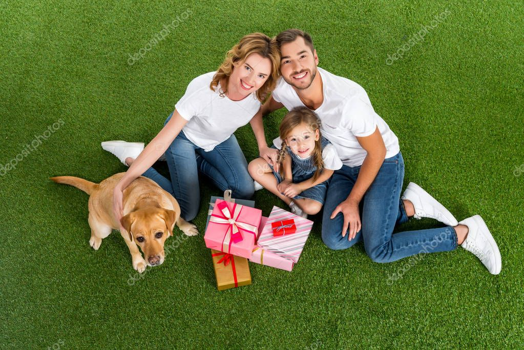high angle view of family with wrapped gifts sitting on green grass