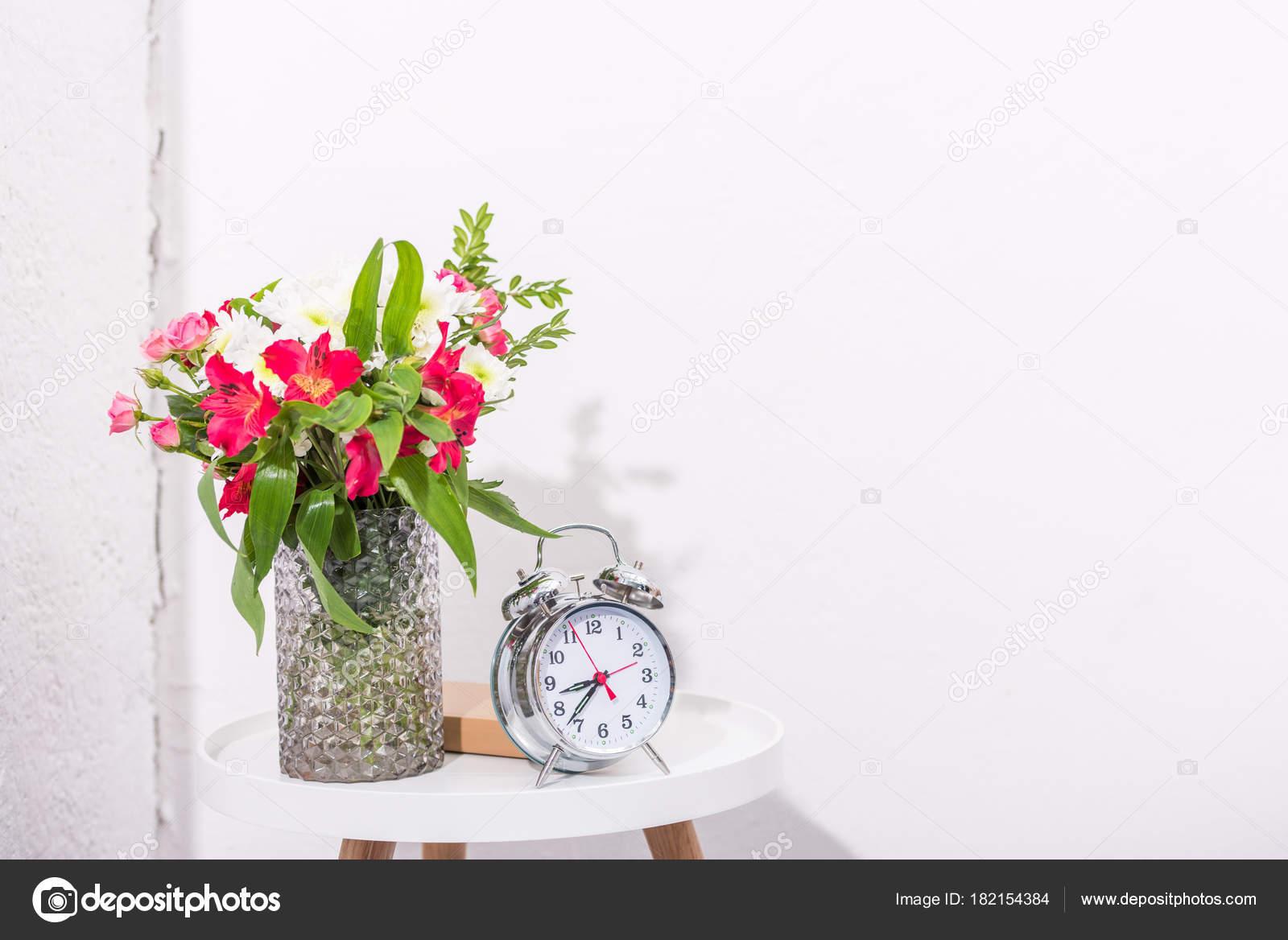 Vintage alarm clock table flowers vase stock photo vintage alarm clock table flowers vase stock photo reviewsmspy