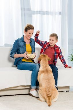 mother and son feeding their dog with popcorn while he sitting on floor