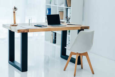 interior of modern white office with stylish decor
