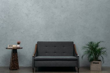 cozy empty sofa and calendar on table and green houseplant near grey wall