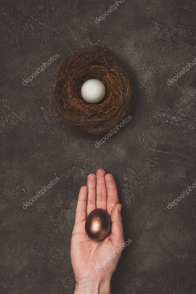 cropped view of man holding golden egg in hand, white egg in nest near