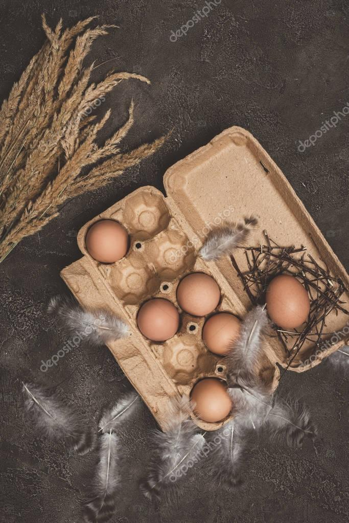 top view of chicken eggs in cardboard tray with feathers and dry grass