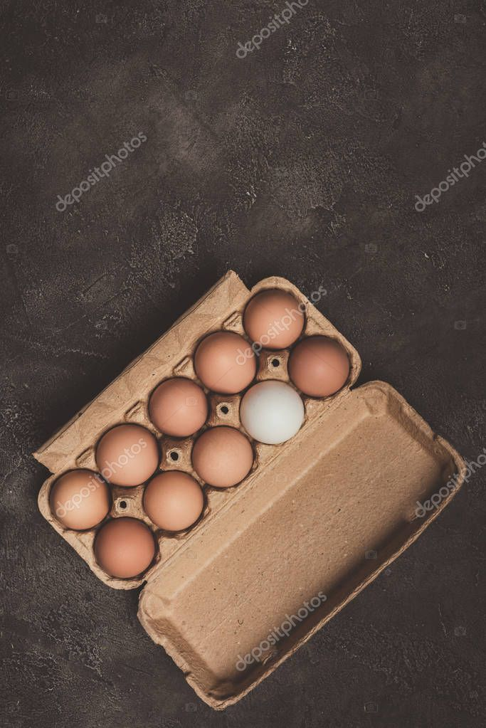 top view of chicken eggs in cardboard tray on concrete surface