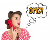 Photo portrait of pin up woman talking on old telephone with comic style omg sign isolated on white