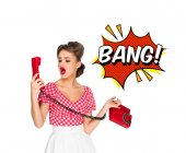 Photo portrait of pin up woman talking on old telephone with comic style bang sign isolated on white