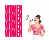Fotografia Ritratto di giovane donna alla moda in pin up abbigliamento di stile con altoparlante e donne ripetendo parole isolate su bianco
