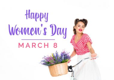 happy women`s day greeting card with beautiful pin up woman on bicycle with basket of flowers isolated on white